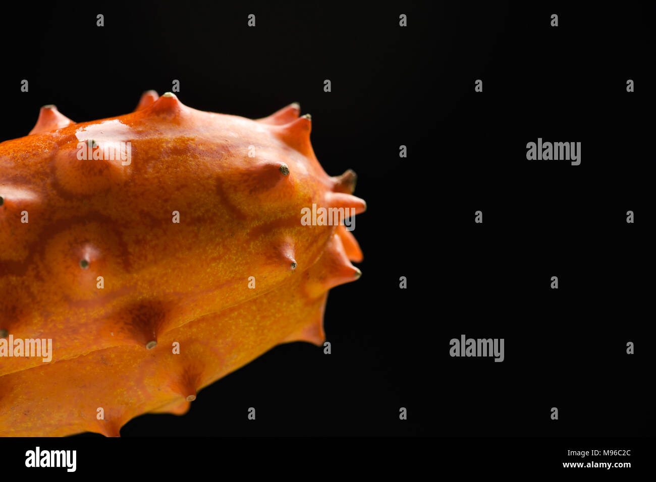 closeup of a kiwano or horned melon on a black background, with some blank space on the right - Stock Image