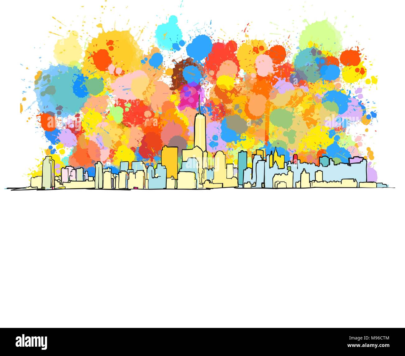 Colorful Skyline of New York City with large ammount of splashes. Vector Drawing. - Stock Image