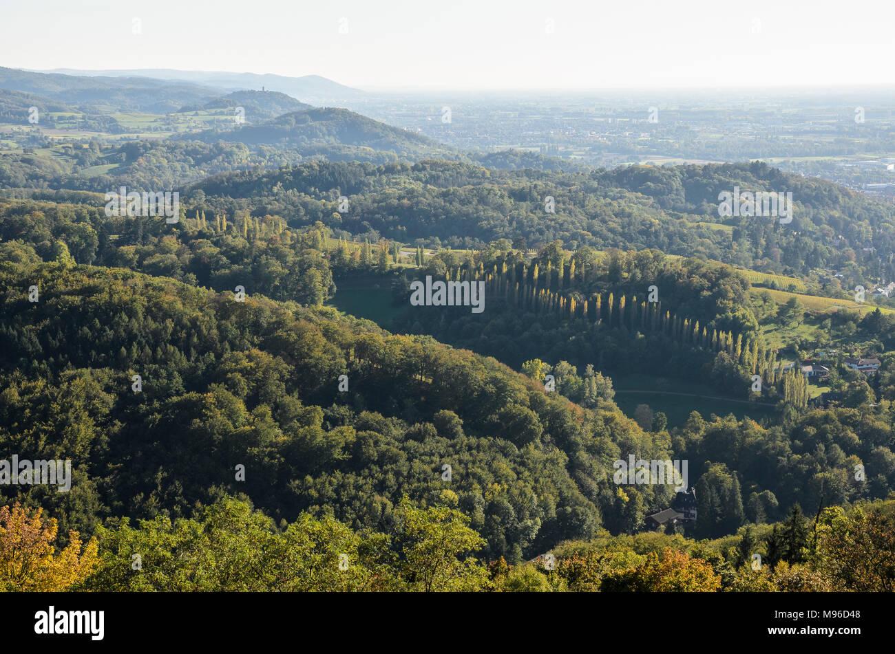 Blick über die Bergstrasse, Odenwald, Hessen, Deutschland Stock Photo