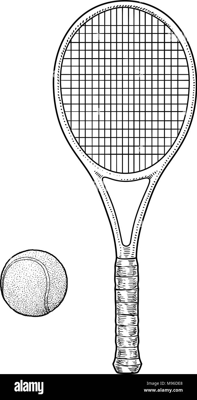 Tennis Racket And Ball Illustration Drawing Engraving Ink Line Art Vector Stock Vector Image Art Alamy