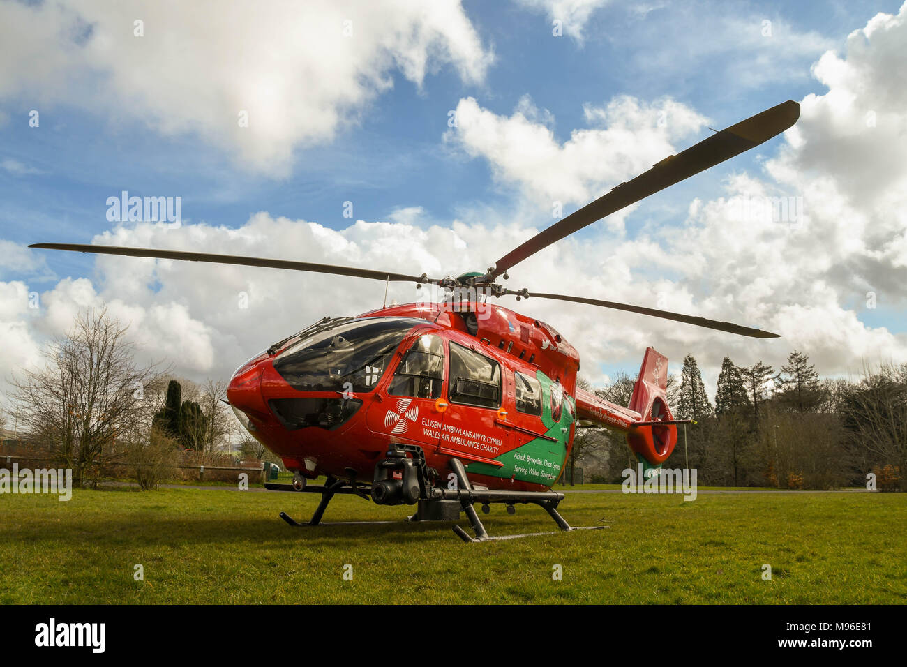 Wide angle view of an Airbus helicopter of the Wales Air Ambulance service on the ground during an emergency mission Stock Photo