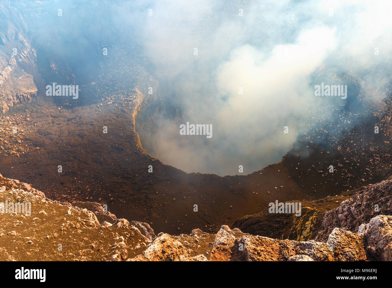 Interior of the volcanic crater of the Masaya volcano with gas emissions (sulphur dioxide) between Managua and Granada, Nicaragua, Central America. - Stock Image