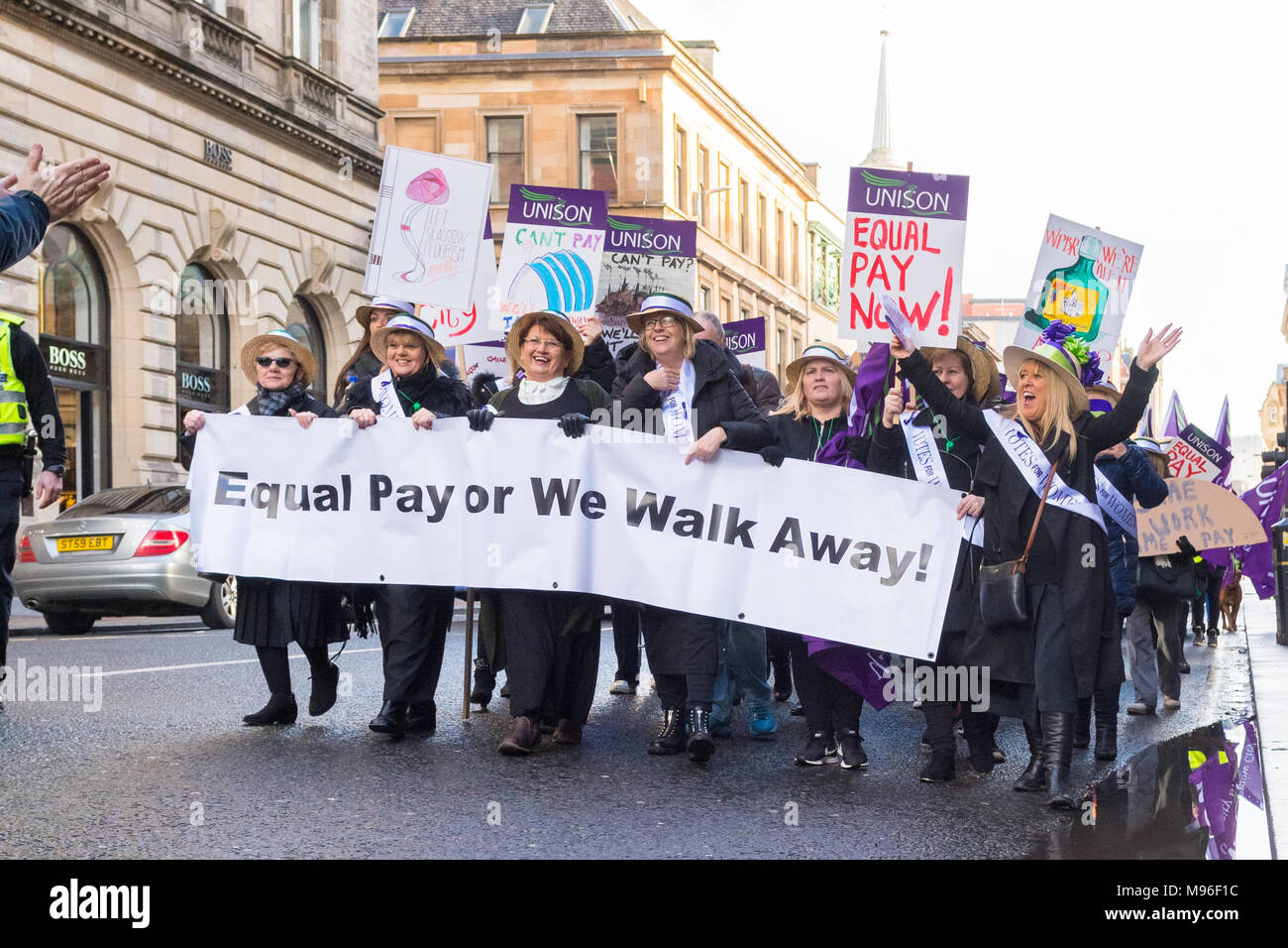 Equal Pay Protest March in Glasgow 10 February 2018 - Stock Image
