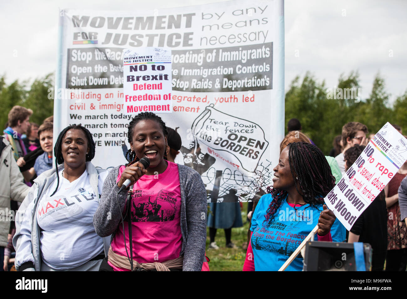 Milton Ernest, UK. 13th May, 2017. Campaigners against immigration detention attend a protest outside Yarl's Wood Immigration Removal Centre. - Stock Image