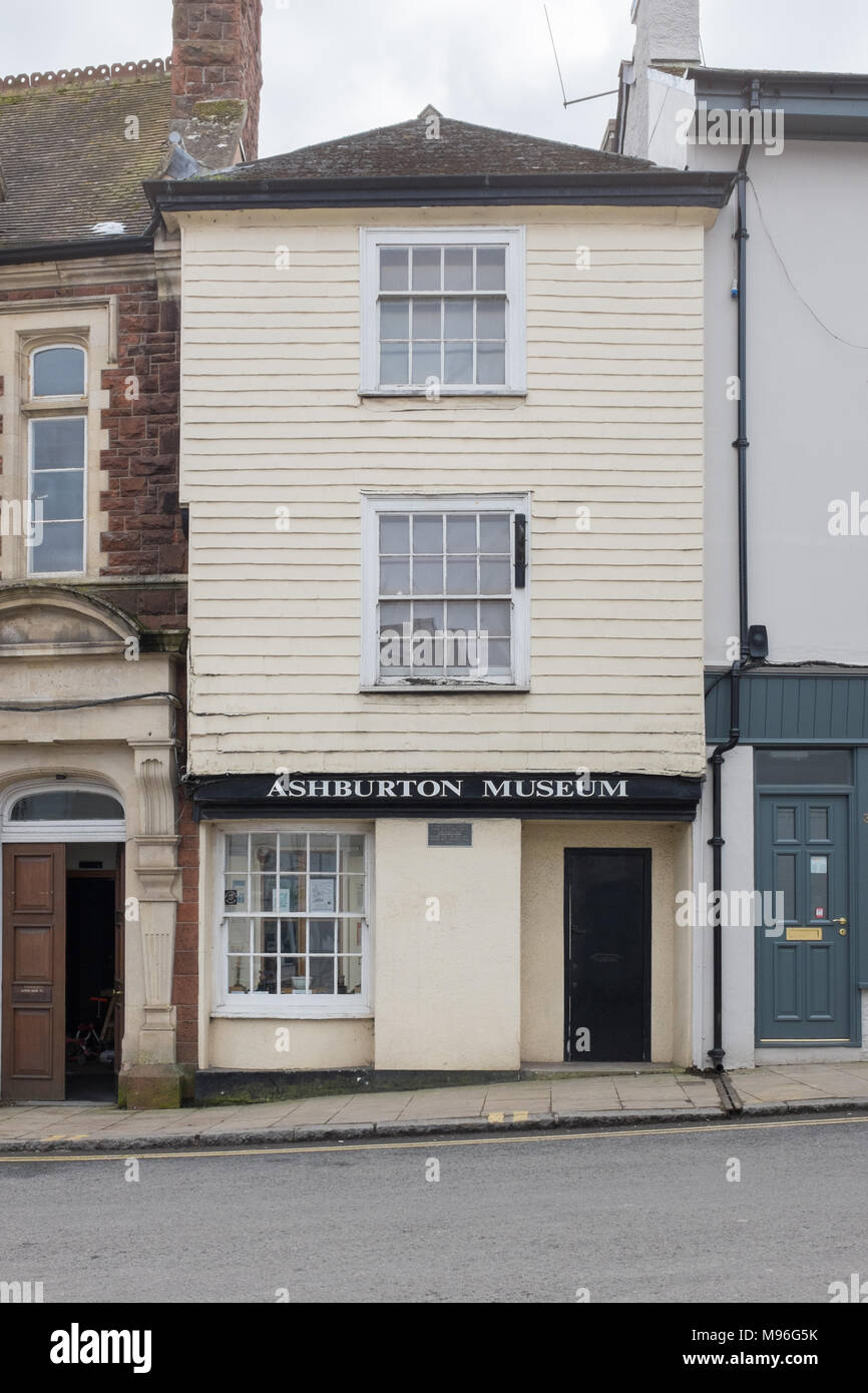 Ashburton Museum in the ancient stannary town of Ashburton in the Dartmoor National Park, Devon - Stock Image
