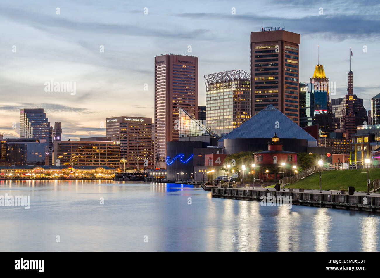 The Inner Harbor in Baltimore, Maryland - Stock Image