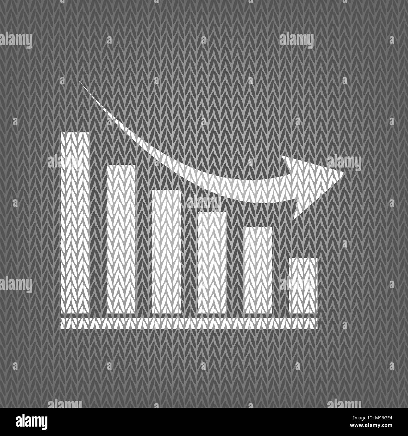 Declining graph sign. Vector. White knitted icon on gray knitted background. Isolated. - Stock Image