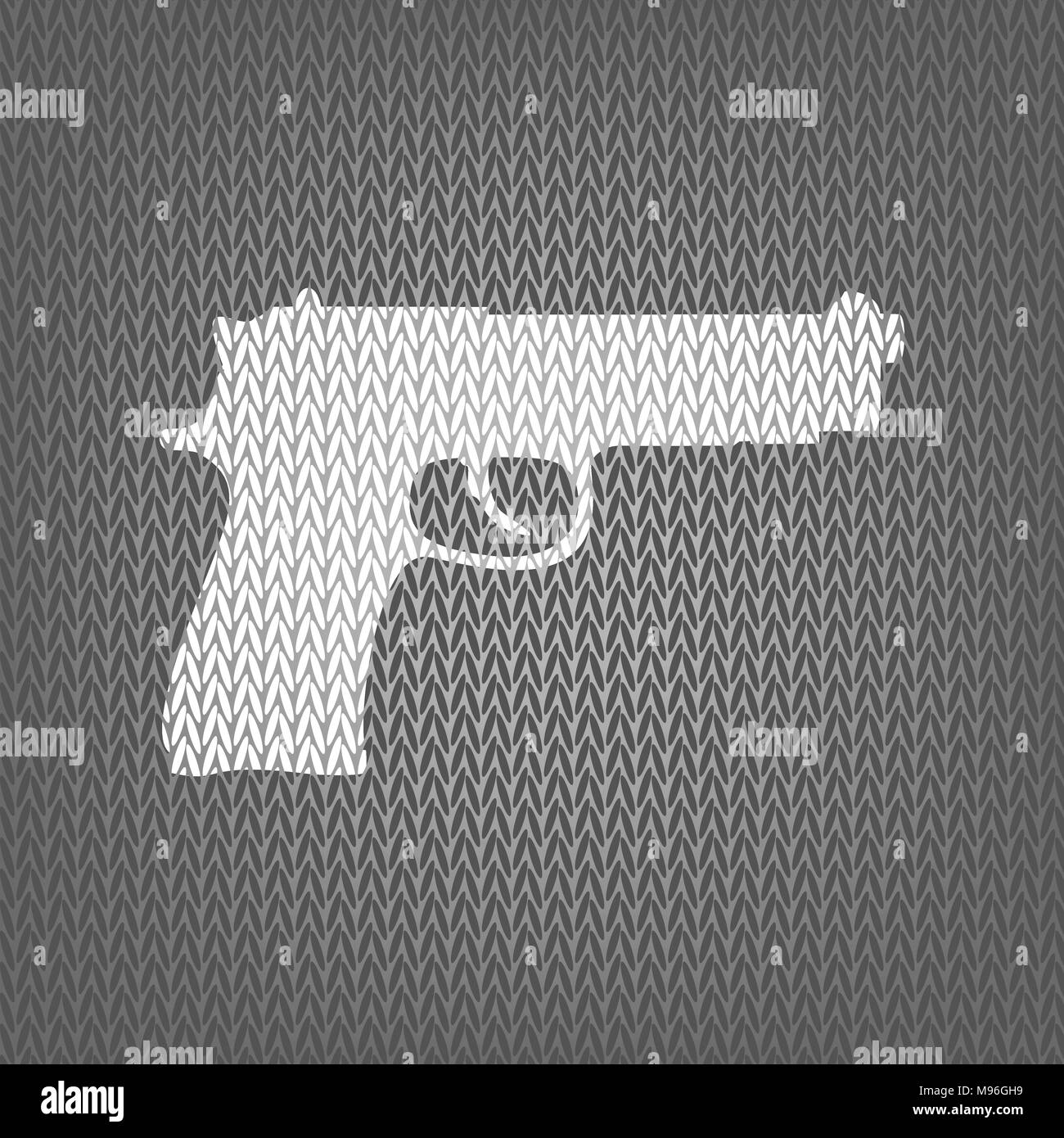 Gun sign illustration. Vector. White knitted icon on gray knitted background. Isolated. - Stock Vector