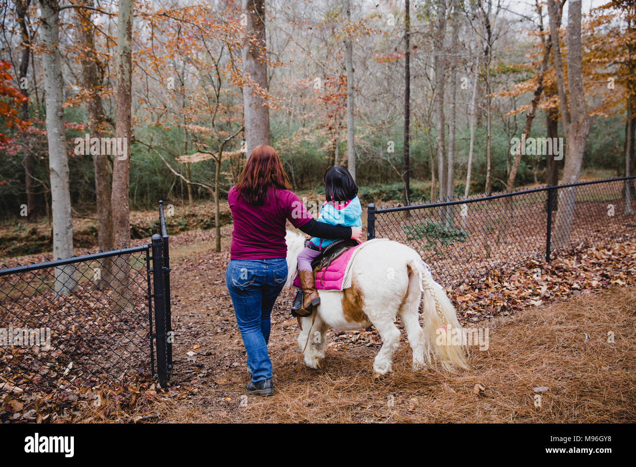 Girl being guided through woods on horseback - Stock Image