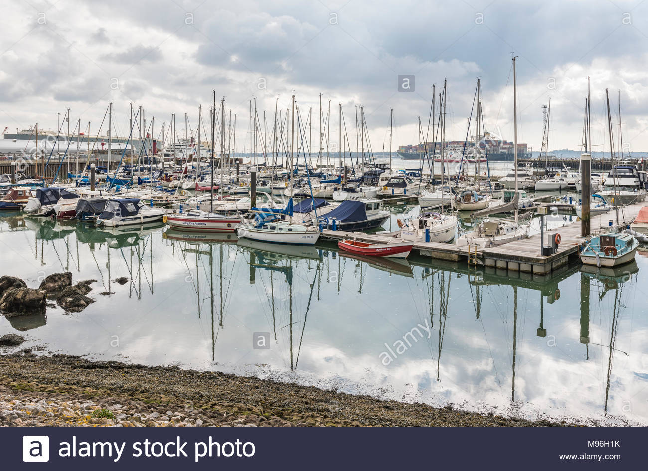 Yachts and boats moored in Town Quay Marina in Winter in Southampton, Hampshire, England, UK. - Stock Image