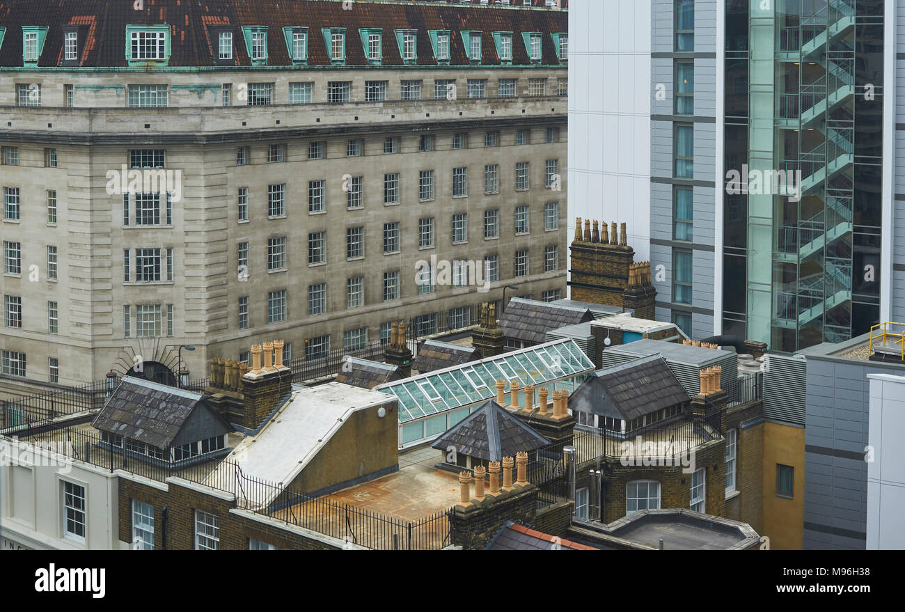 The Mix of Old and New across some London Roof tops at Westminster, England. - Stock Image
