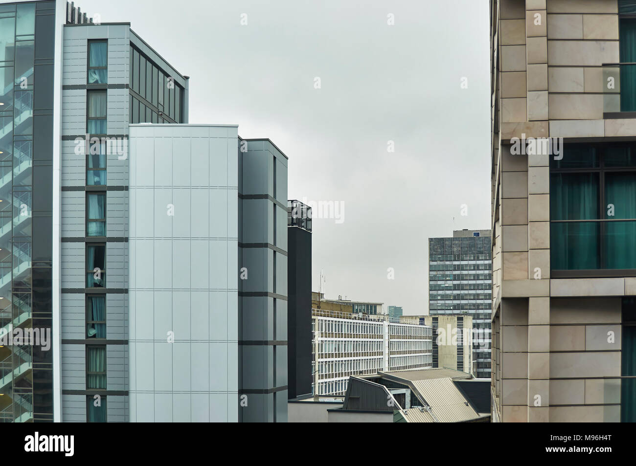 Some of the brutally modernistic rectangular Skyline in parts of Westminster in London, England - Stock Image
