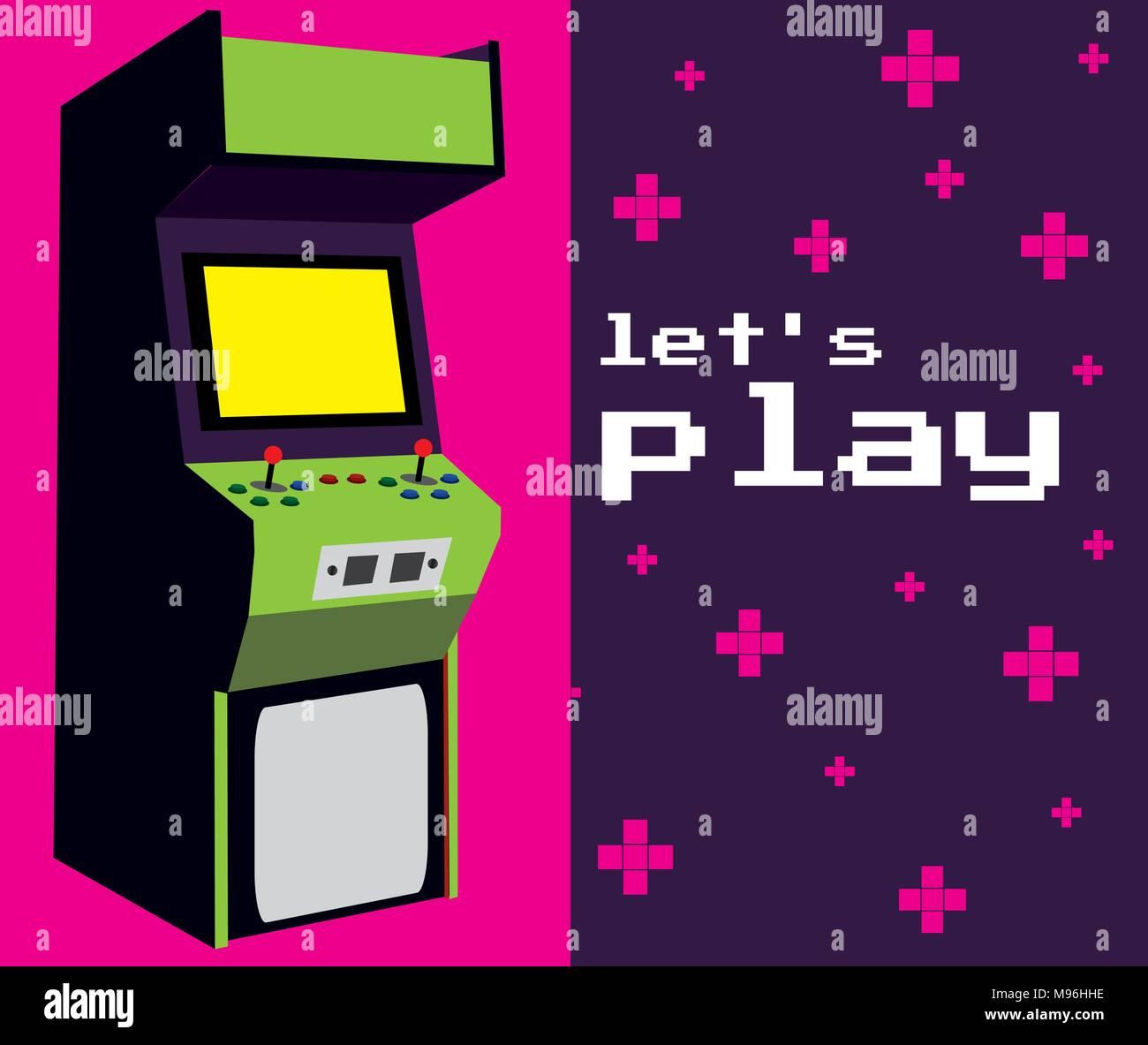 Lets play arcade - Stock Vector
