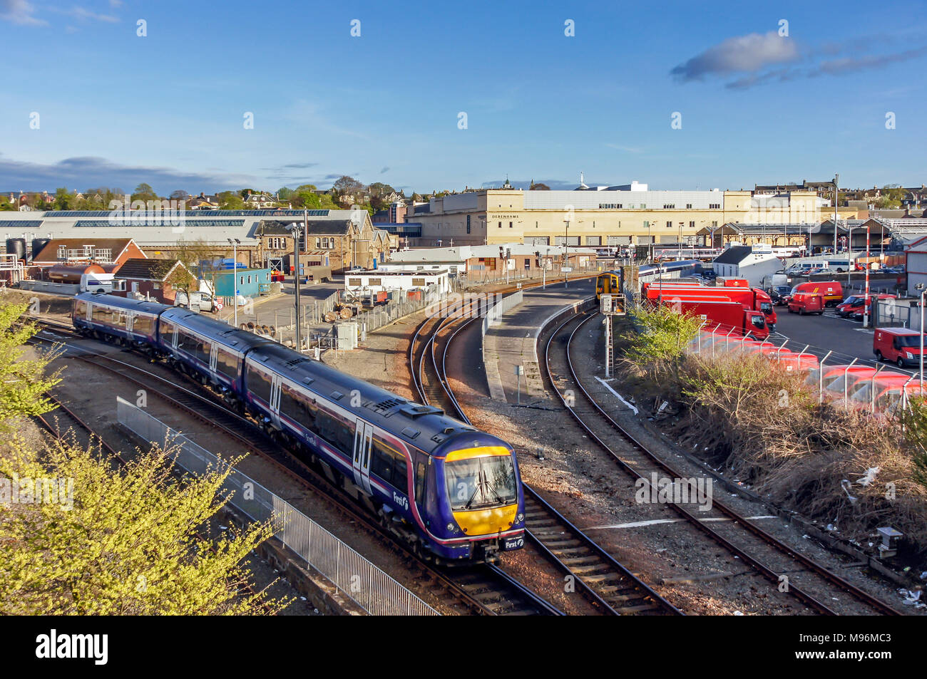 The north end of the triangle at Inverness railway Station Inverness Highland Scotland UK with a Class 170 DMU - Stock Image