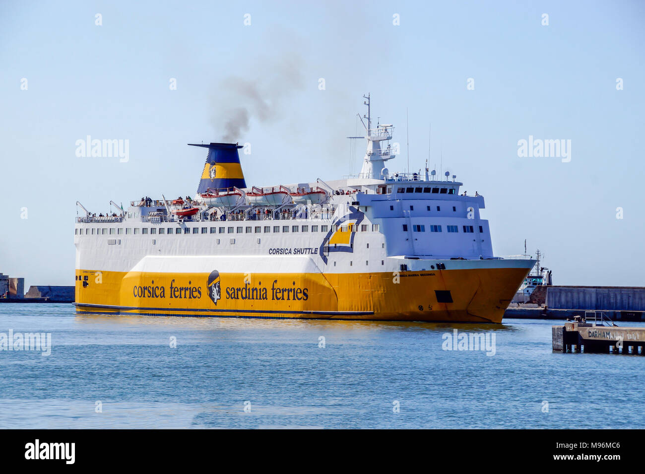 Corsica ferries car and passenger ferry  Corsica Shuttle arriving at Livorno Harbour Livorno Italy Europe - Stock Image