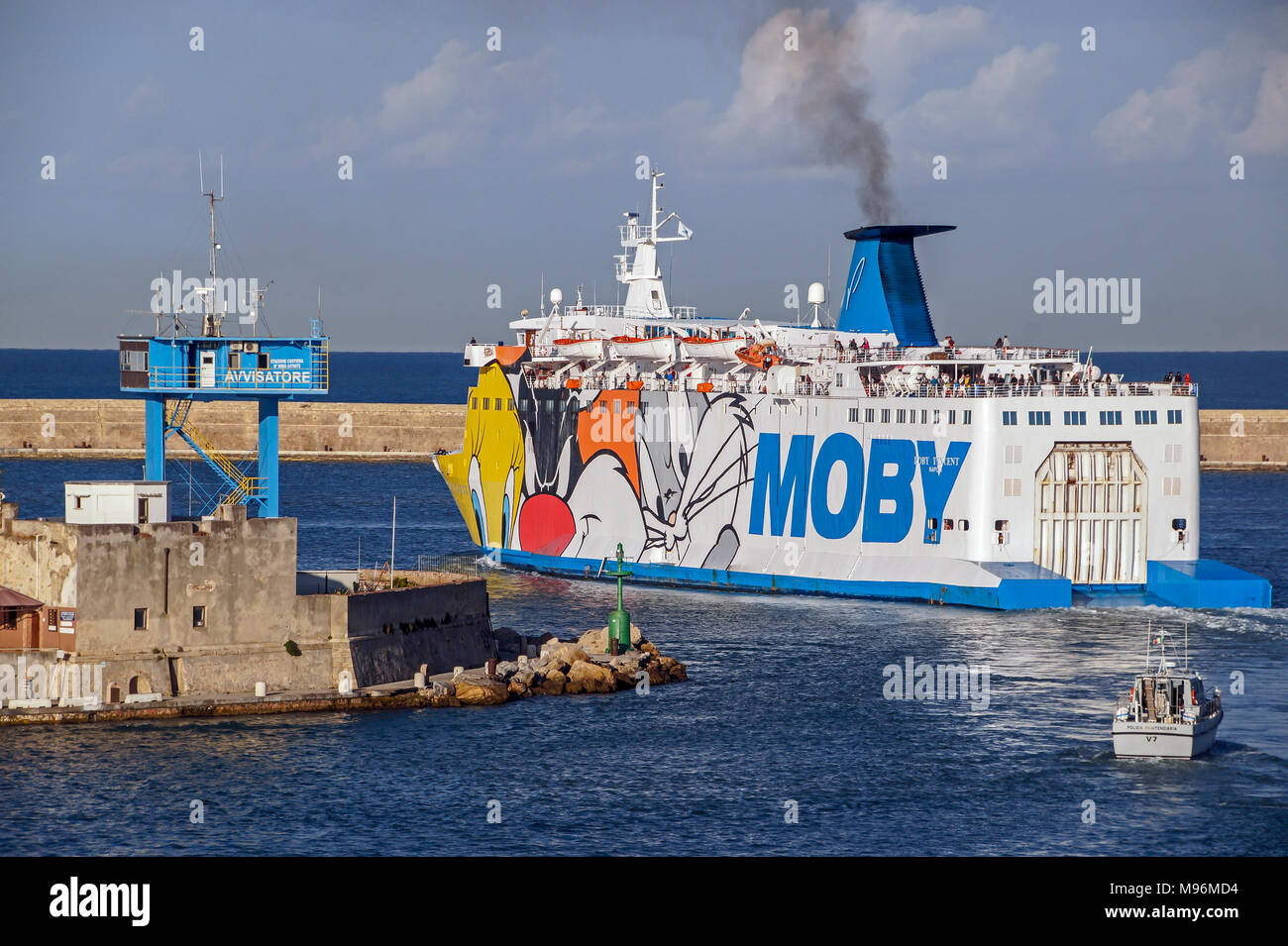 Moby Ro-Ro car and passenger ferry Moby Vincent leaving Livorno Harbour Livorno Italy Europe - Stock Image