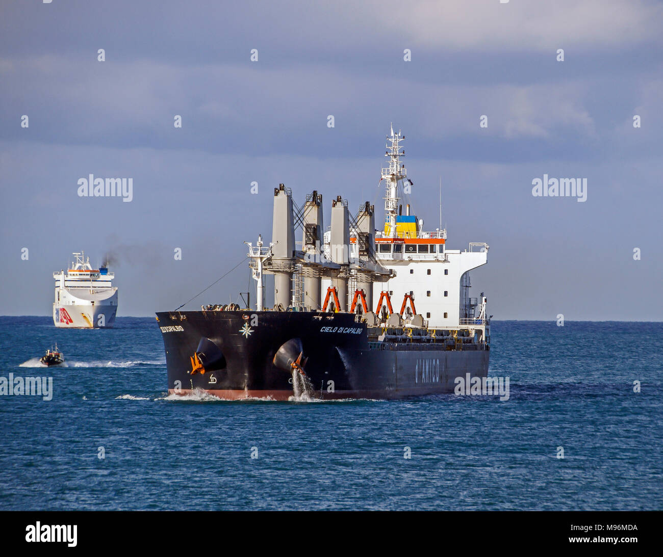 D Amico bulk carrier Cielo de Capalbio heading towards Livorno Harbour Livorno Italy Europe with Massimo Mura behind - Stock Image