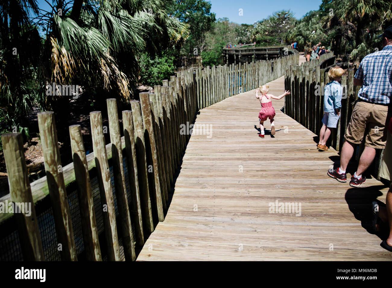Family walking down zoo boardwalk - Stock Image