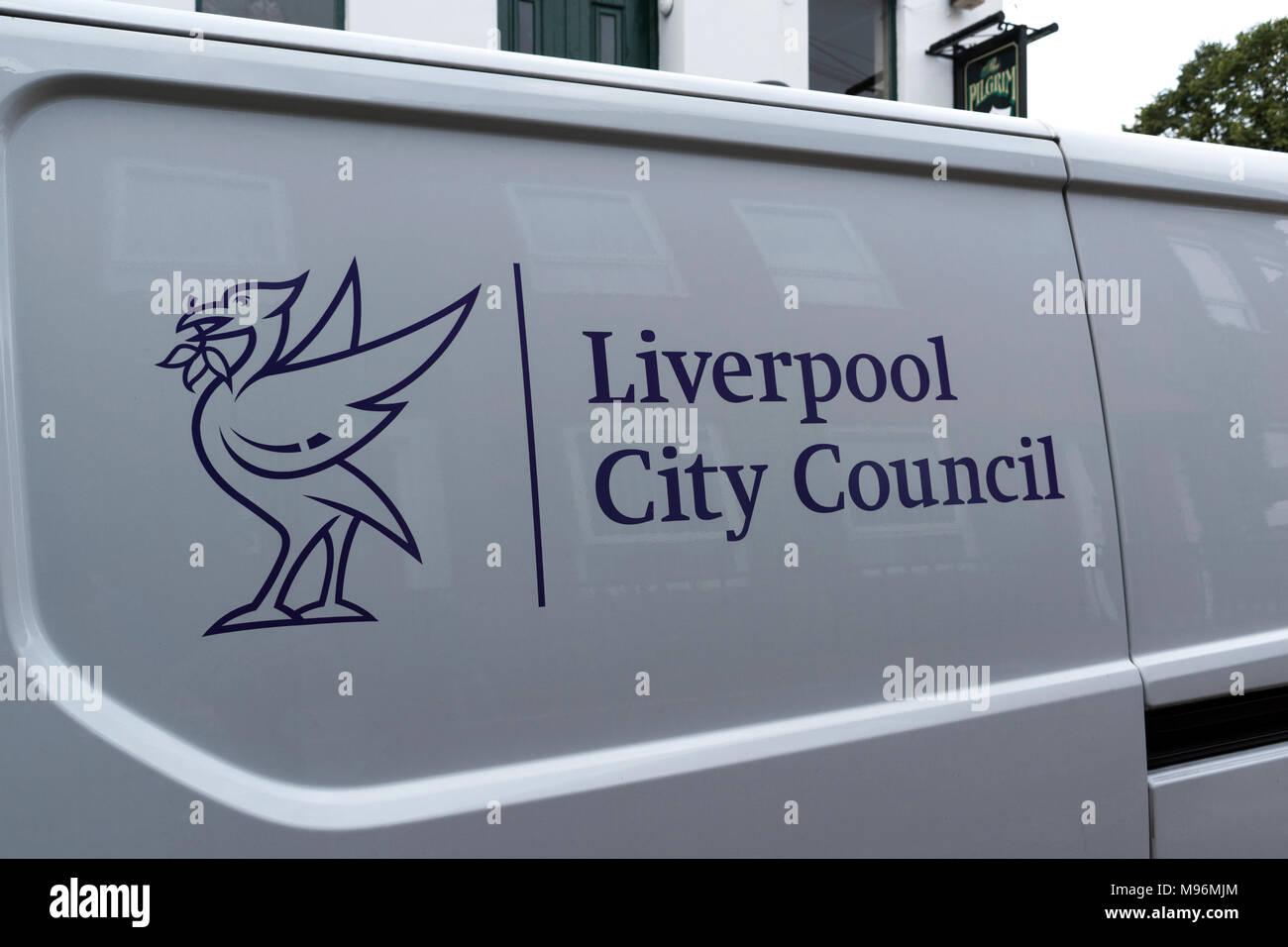 liverpool city council van - Stock Image