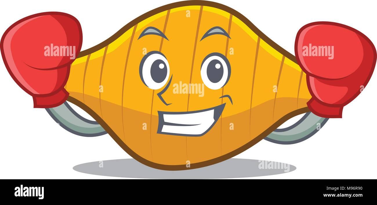 Boxing conchiglie pasta character cartoon Stock Vector