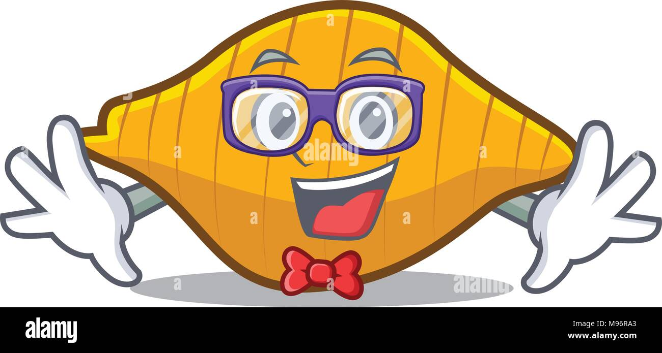 Geek conchiglie pasta character cartoon Stock Vector
