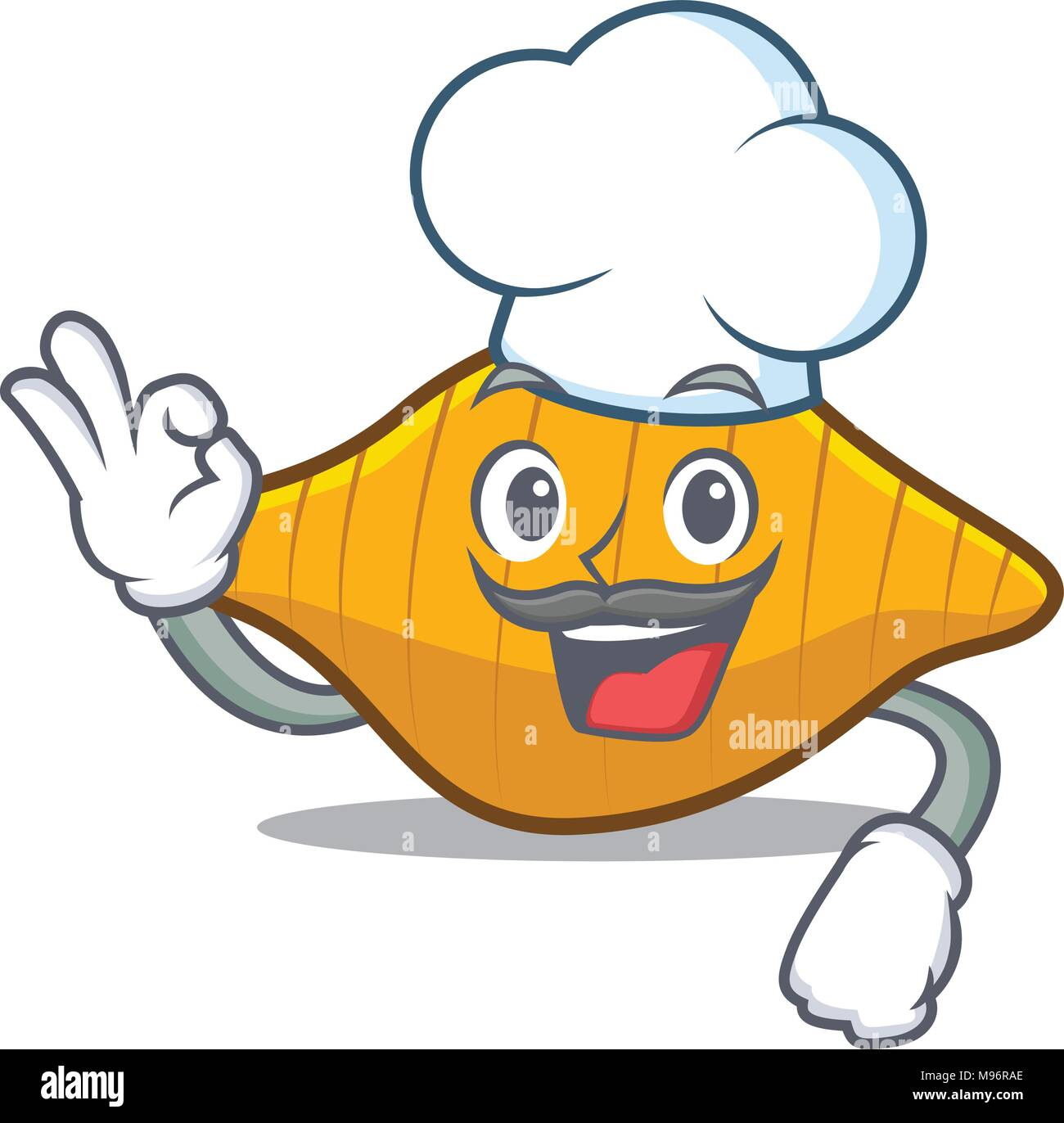 Chef conchiglie pasta character cartoon Stock Vector