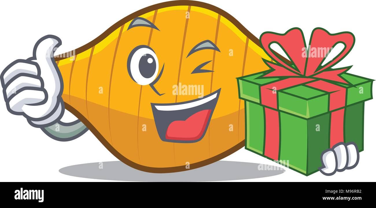 With gift conchiglie pasta mascot cartoon Stock Vector