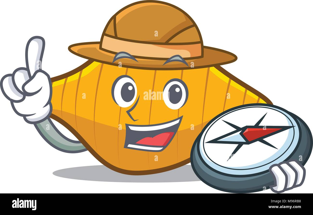 Explorer conchiglie pasta mascot cartoon Stock Vector