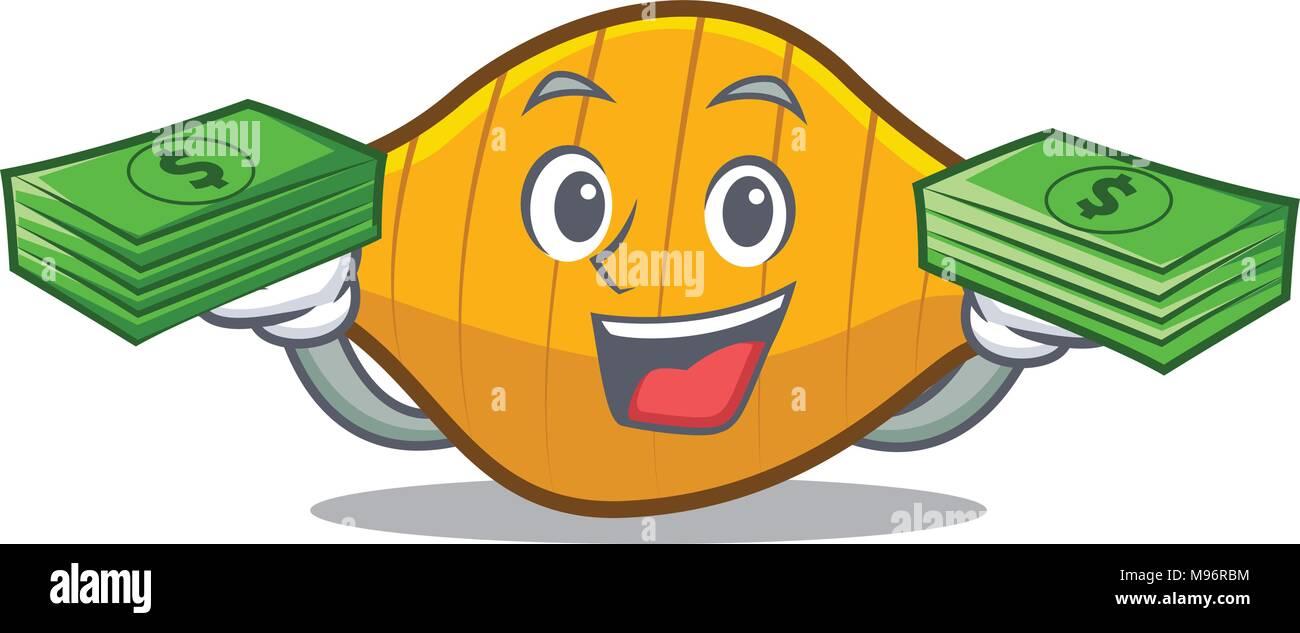 With money conchiglie pasta mascot cartoon Stock Vector