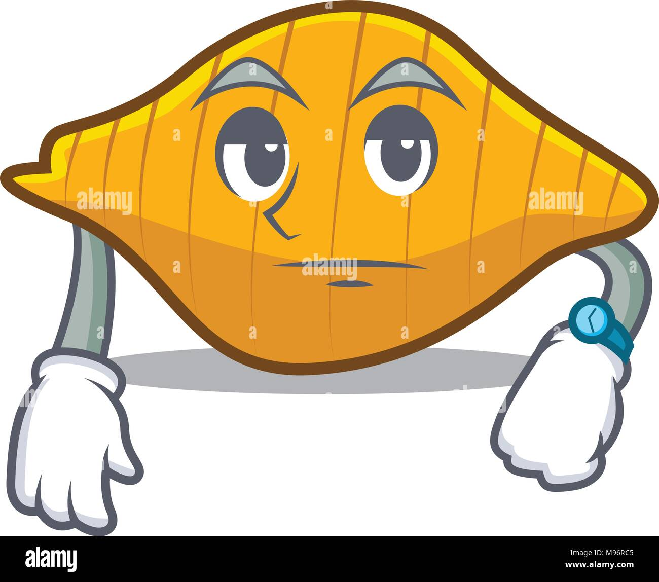 Waiting conchiglie pasta mascot cartoon Stock Vector