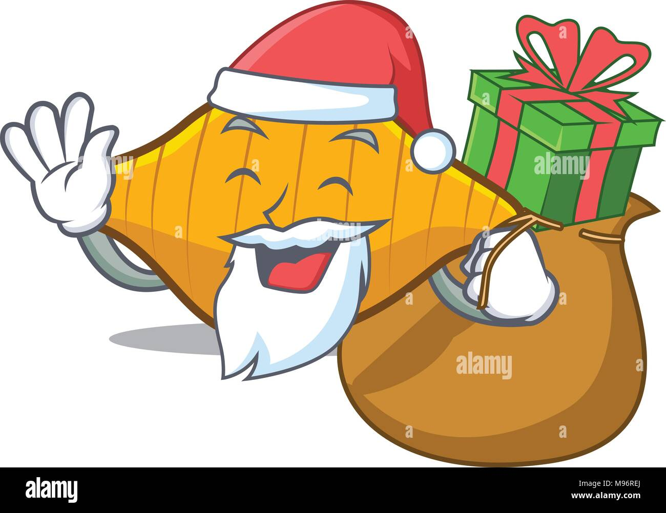 Santa with gift conchiglie pasta mascot cartoon Stock Vector