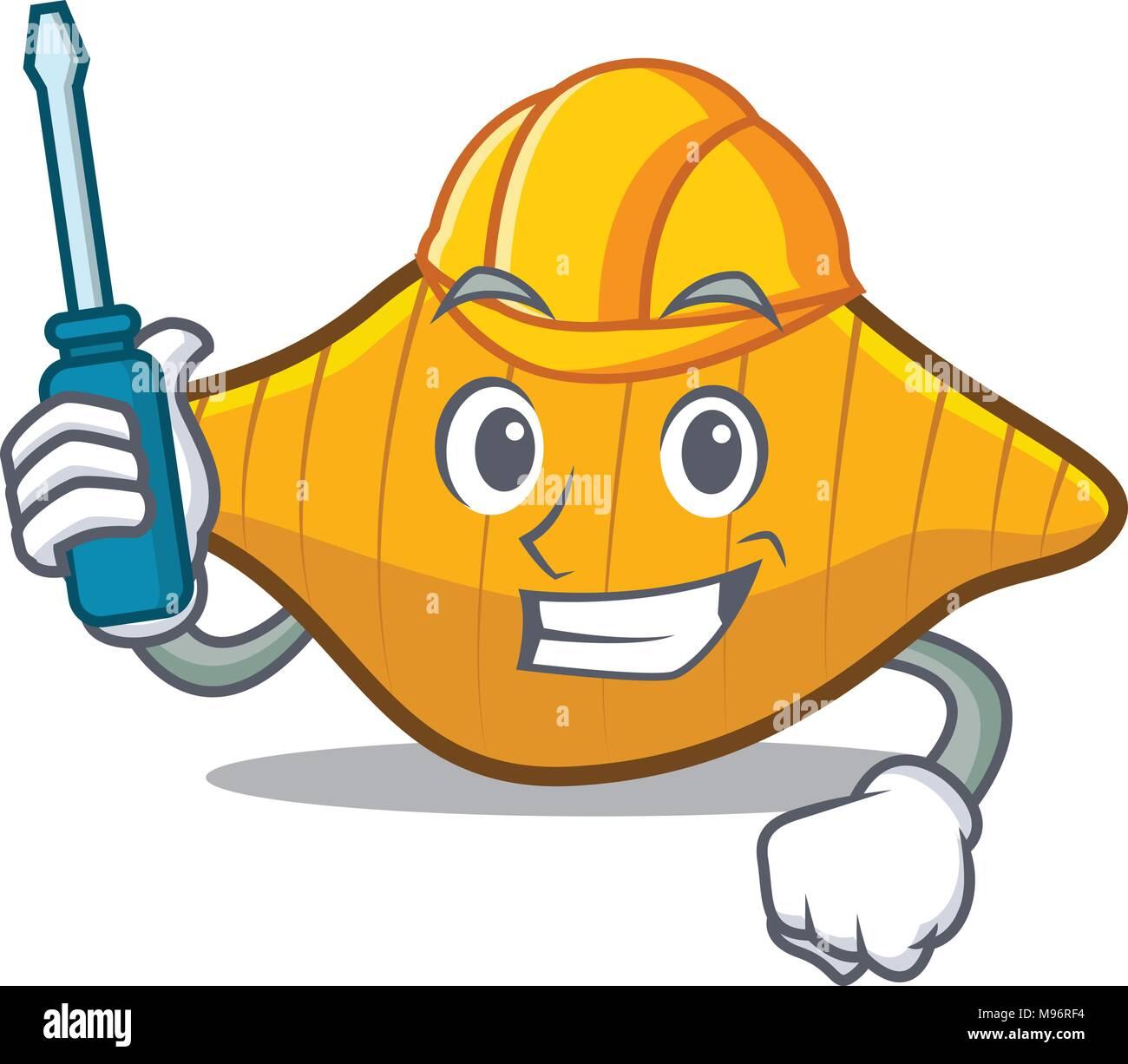 Automotive conchiglie pasta mascot cartoon Stock Vector