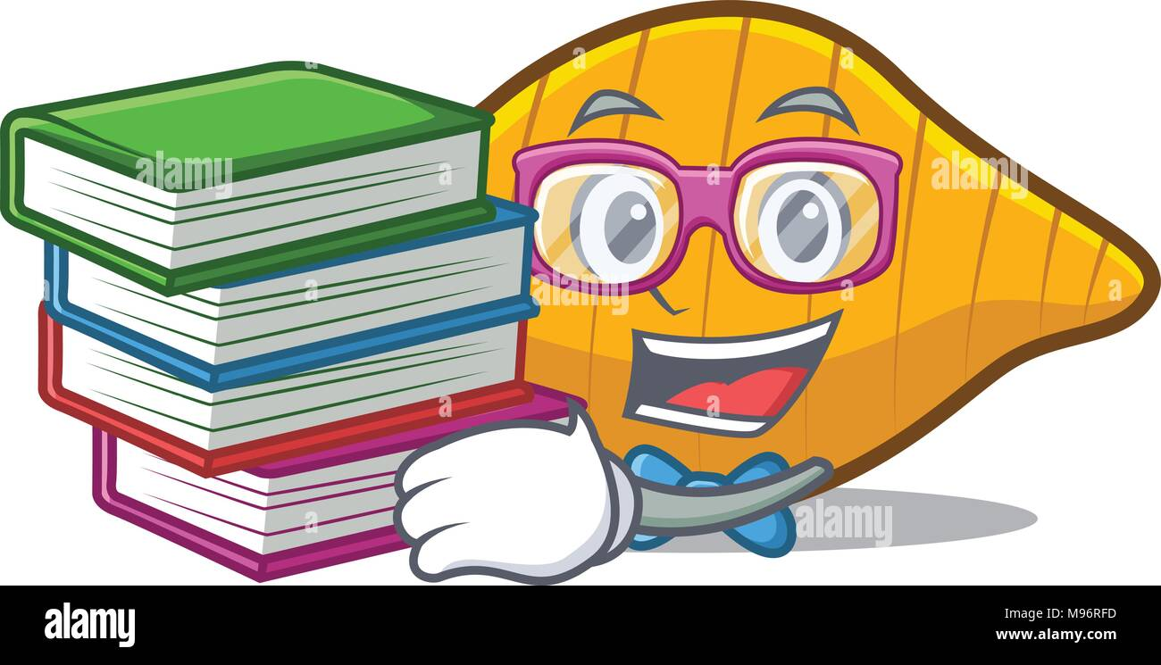 Student with book conchiglie pasta mascot cartoon Stock Vector