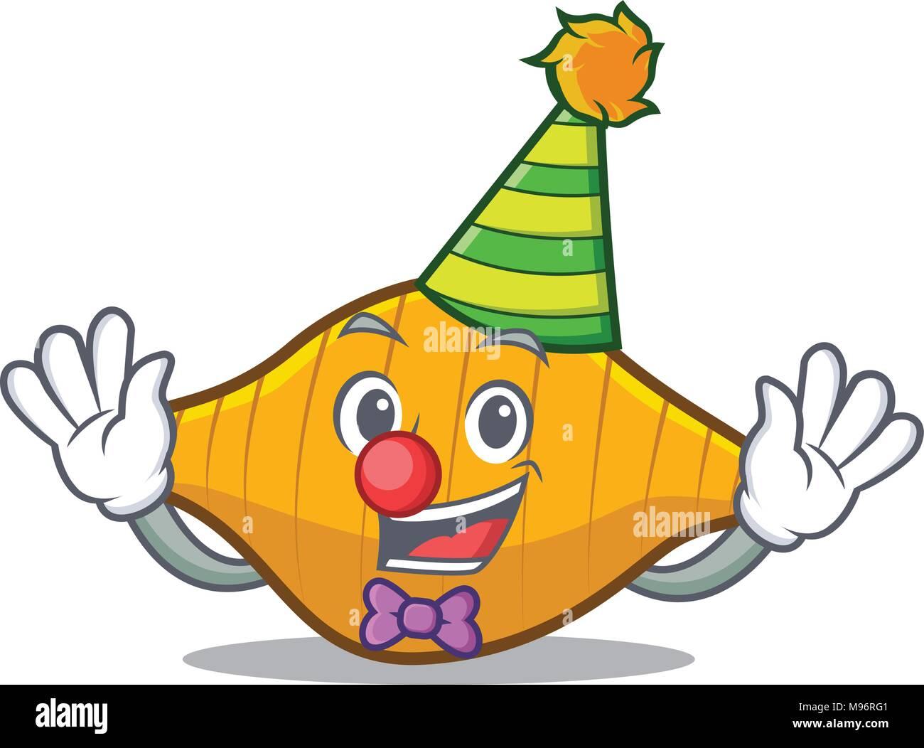 Clown conchiglie pasta mascot cartoon Stock Vector