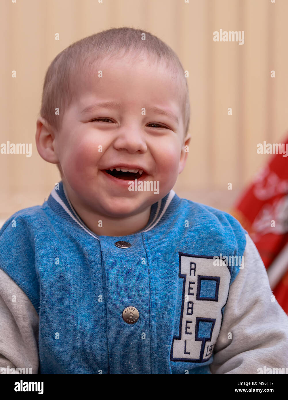 A Young Two Year Old Toddler Posed Indoors In Leicester, United Kingdom - Stock Image