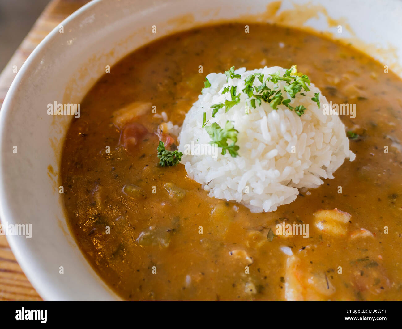 Delicious Cajun style gumbo seafood rice, ate at Los Angeles - Stock Image