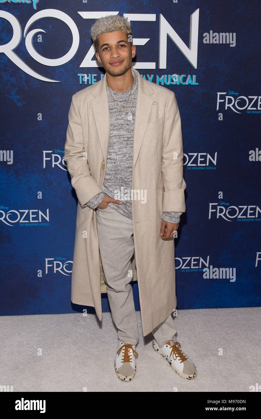 New York, NY, USA. 22nd Mar, 2018. Jordan Fisher in attendance for Disney's FROZEN The Broadway Musical Opening Night, St. James Theatre and Terminal 5, New York, NY March 22, 2018. Credit: Jason Smith/Everett Collection/Alamy Live News - Stock Image