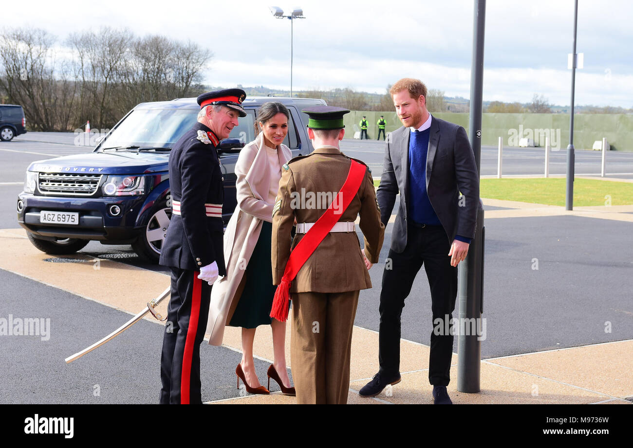 Lisburn, Northern Ireland. 23rd March, 2018. HRH Prince Harry and Meghan Markle arrive in Lisburn during the last part of their UK Tour. Lisburn: Co. Antrim: UK: 23rd March 2018. Credit: Mark Winter/Alamy Live News Stock Photo