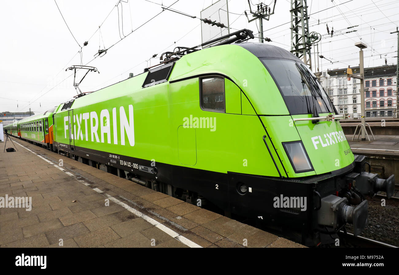 Germany Hamburg The New Long Distance Train Flixtrain Stands At The Altona Railway Station Before Embarking On Its First Journey Between