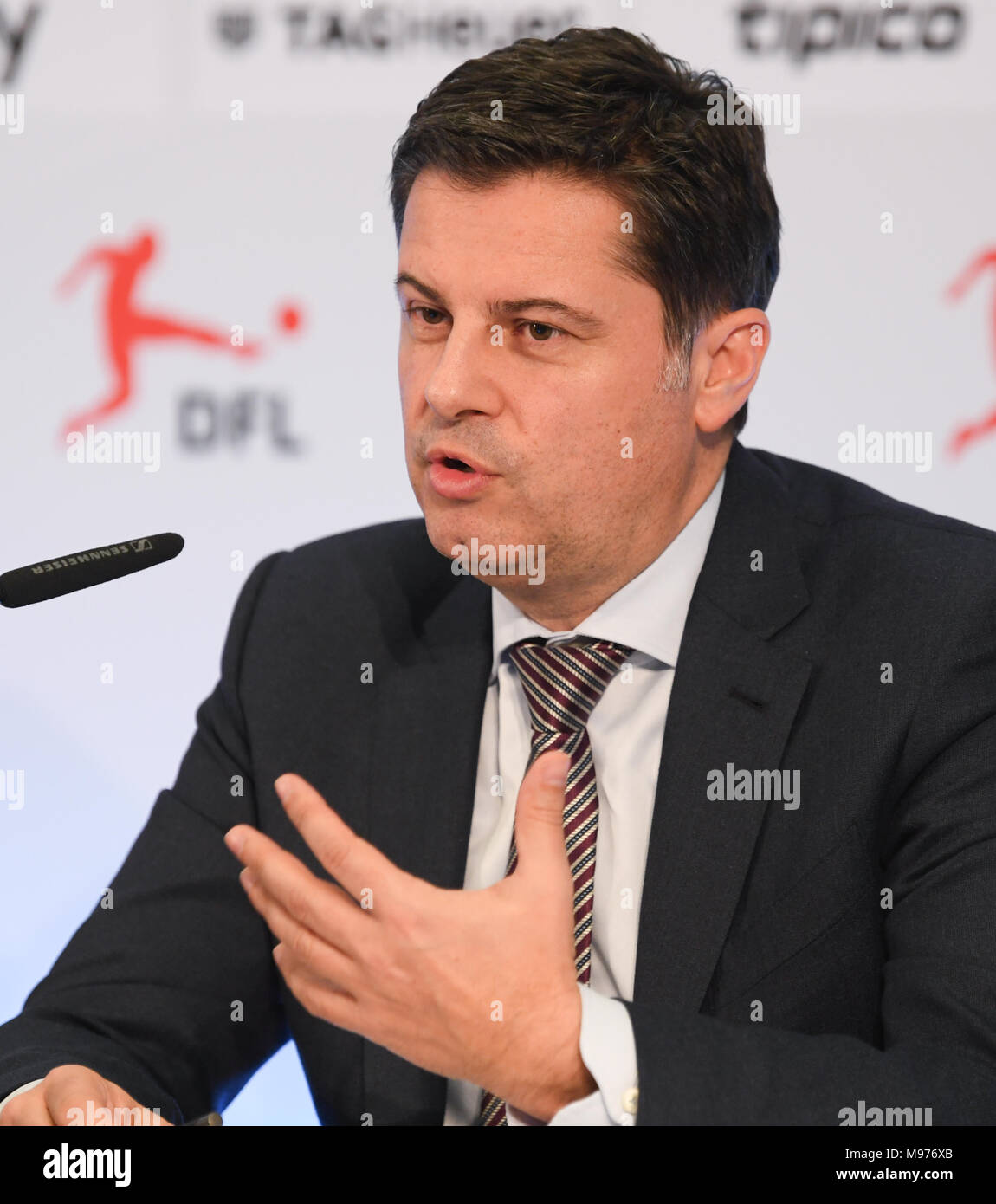 22 March 2018, Germany, Frankfurt/Main: Christian Seifert, CEO of the German Soccer League (DFL), speaks at a press conference. Photo: Arne Dedert/dpa - Stock Image