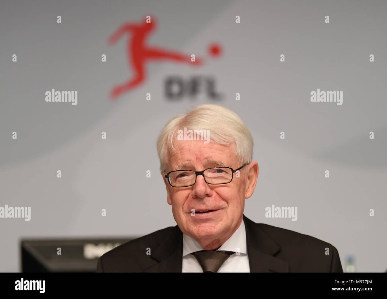 22 March 2018, Germany, Frankfurt/Main: Reinhard Raubull, President of the German Soccer League (DFL), speaks at a press conference. Photo: Arne Dedert/dpa - Stock Image