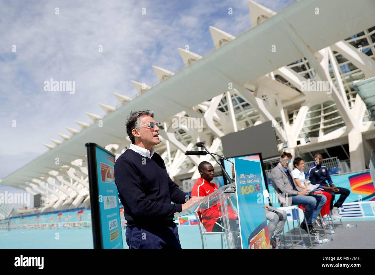 President of the International Association of Athletics Federations (IAAF), Sebastian COE, poses during the presentation of the IAAF World Half Marathon Championships at the Arts and Science City in Valencia, Spain, 23 March 2018. The IAAF World Half Marathon Championships 2018 will be held next 24 March 2018. Up to 315 elite athletes from 87 countries will be competing amongst a total of 14,577 runners.EFE/ Manuel Bruque - Stock Image