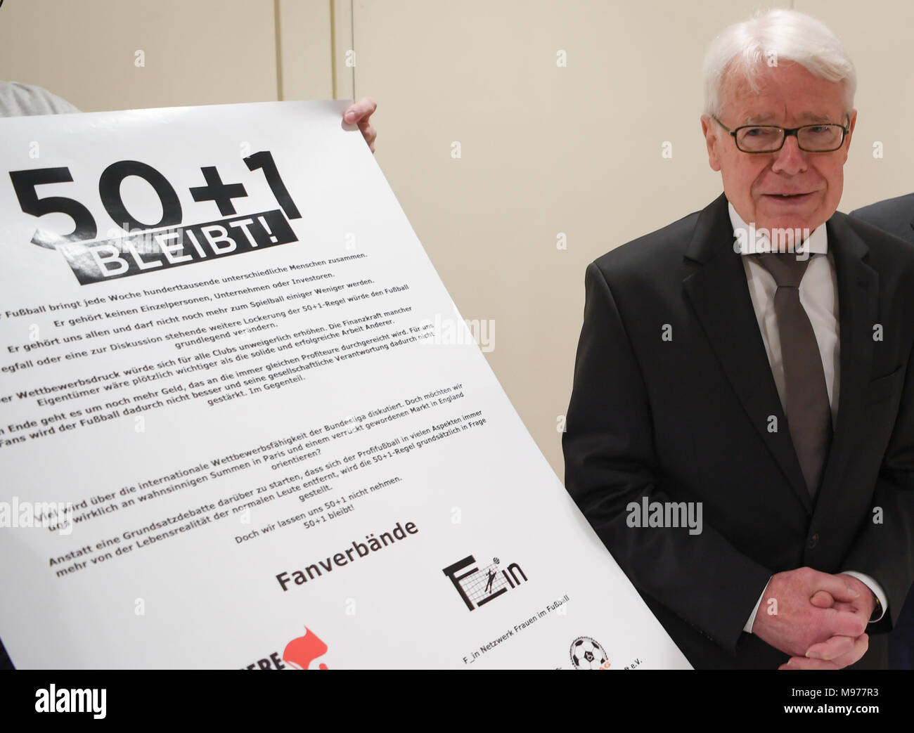22 March 2018, Germany, Frankfurt/Main: Reinhard Rauball, President of the German Soccer League (DFL), attends a members' assembly to present the 50+1 rule. Photo: Arne Dedert/dpa - Stock Image