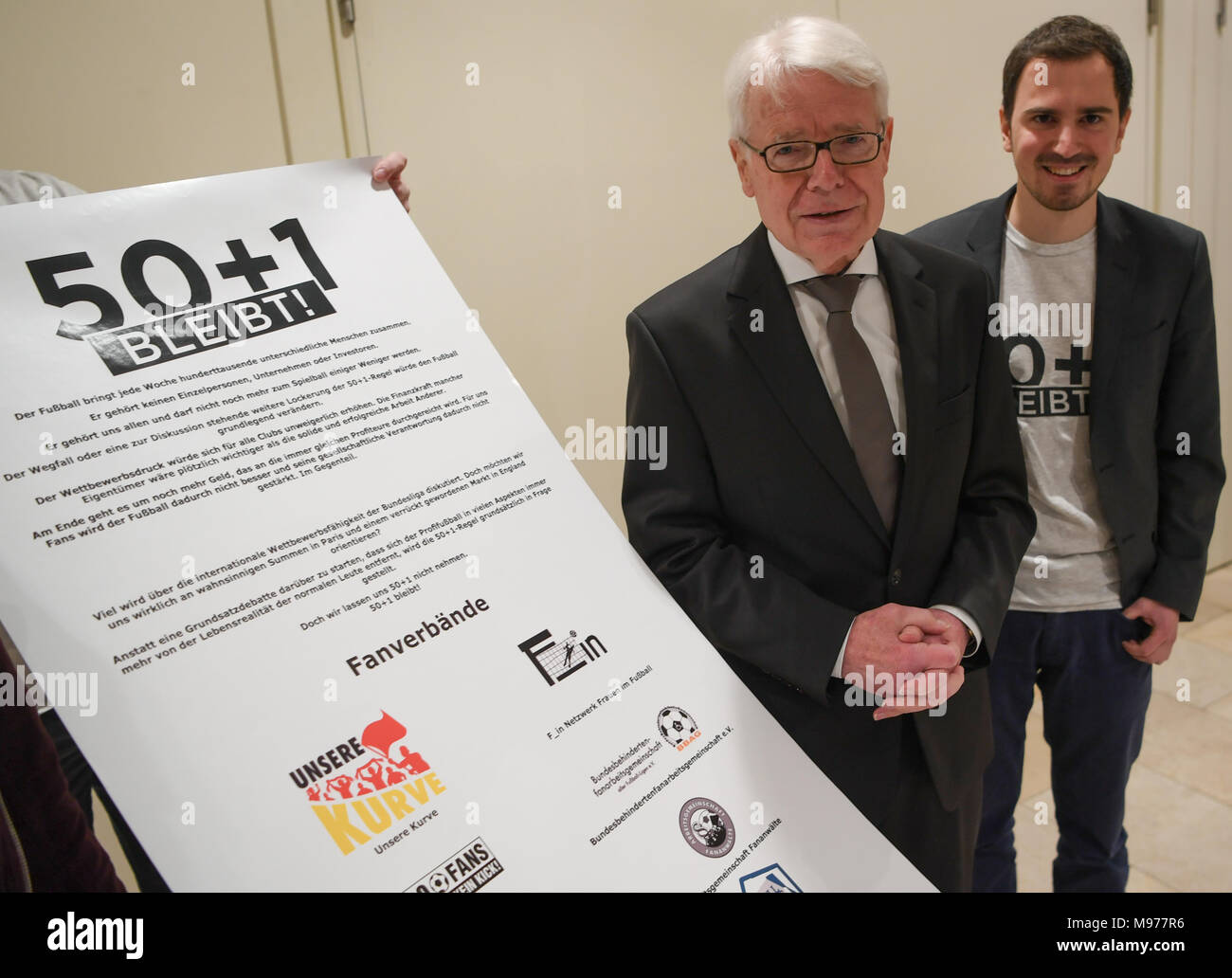 22 March 2018, Germany, Frankfurt/Main: Reinhard Rauball (l), President of the German Soccer League (DFL), attends a members' assembly to present the 50+1 rule. Photo: Arne Dedert/dpa - Stock Image