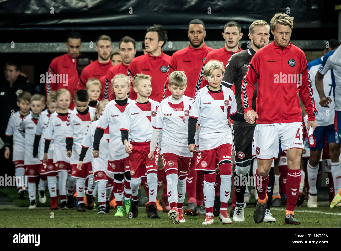 new style 0e28e 422ba Denmark, Brøndby - March 22, 2018. Led by captain Simon Kjær ...