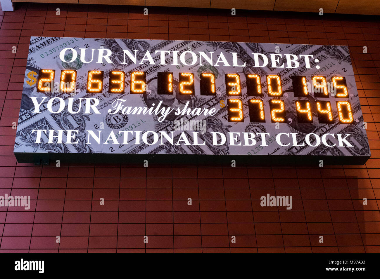 New York, NY, USA. 23rd Mar, 2018. The National Debt Clock is a very very large digital display of the current gross national debt of the United States. It is mounted on a western facing wall in a wide covered alley in the middle of the block and runs between West 42nd Street and West 43rd Street. The alley is located between Sixth Avenue and Broadway in New York City. The displayed debt shown is as of March 23, 2018 when this image was created. Credit: Michael Brochstein/SOPA Images/ZUMA Wire/Alamy Live News - Stock Image
