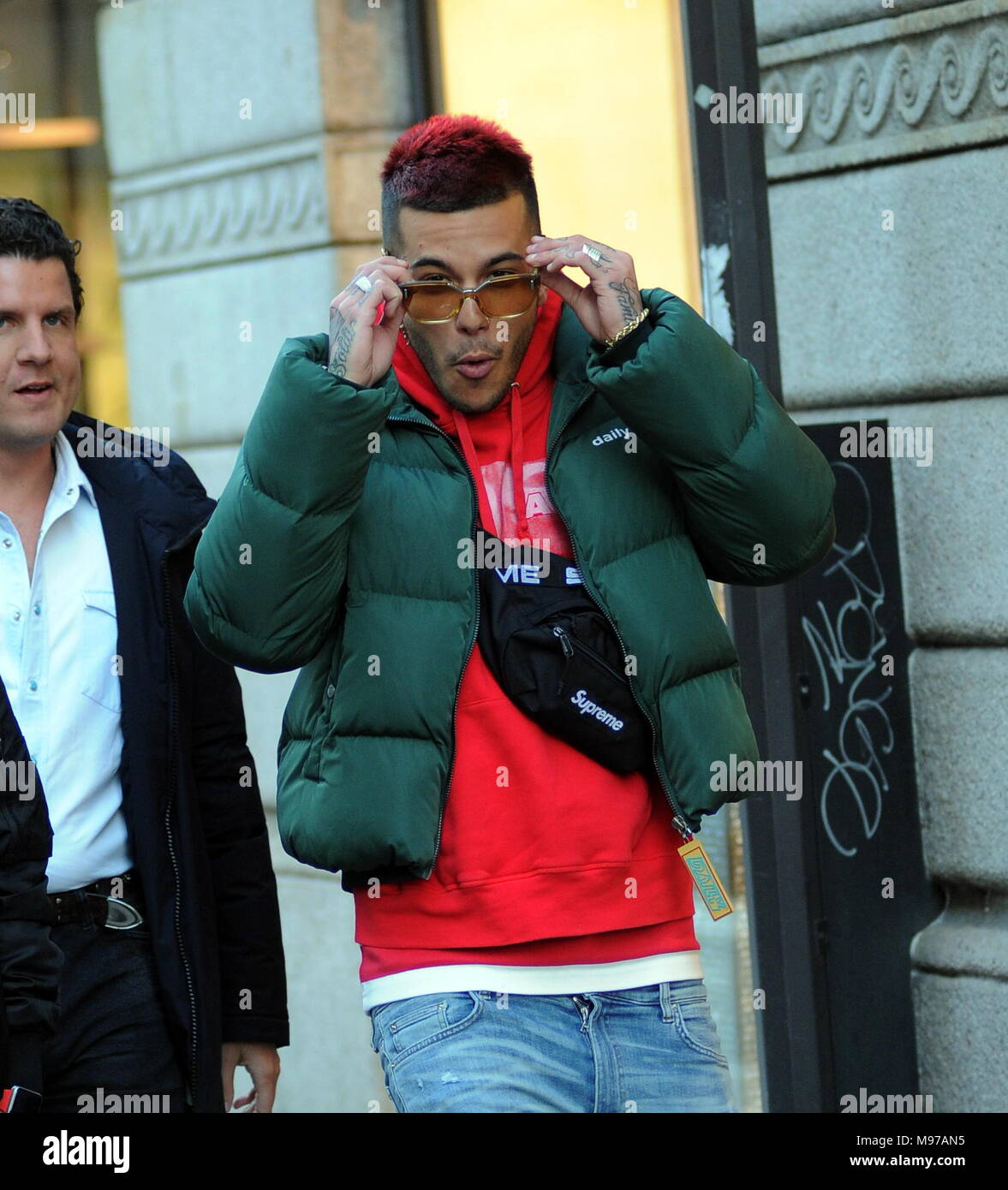 Milan Sfera Ebbasta Walks In The Center The Famous Rapper Sfera Ebbasta Surprised To Walk Through The Streets Of The Center Here He Is With Friends Walking In Via Montenapoleone Stock Photo