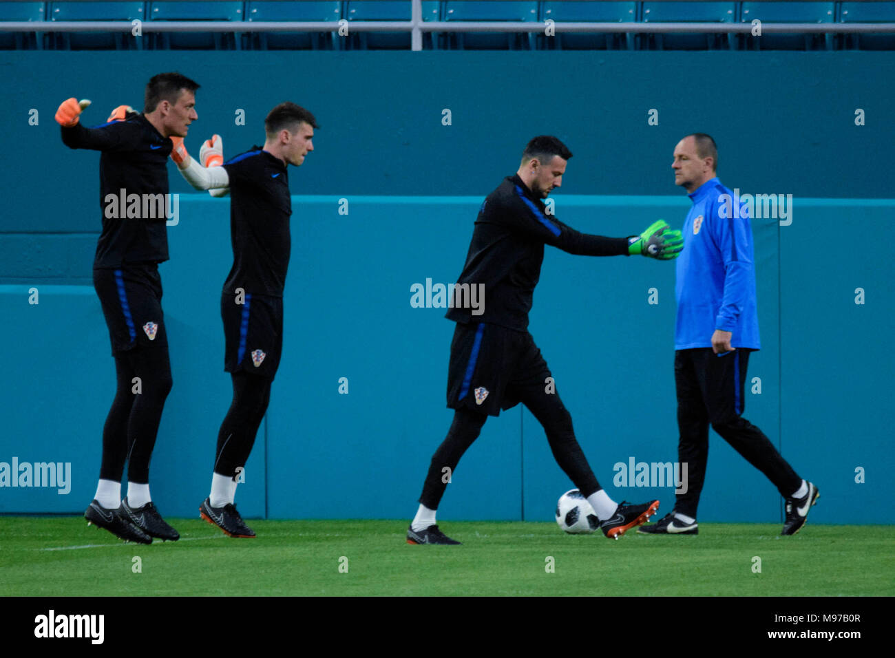 March 22, 2018 - Miami, United States - The preparation of the goalkeepers of the Croatian national team is vital to face the World Cup and a strong group where they seek to classify..The Croatia national football team will play a friendly match against Peru on Friday at 23 March at the Hard Rock Cafe Stadium in the city of Miami. (Credit Image: © Fernando Oduber/SOPA Images via ZUMA Wire) - Stock Image