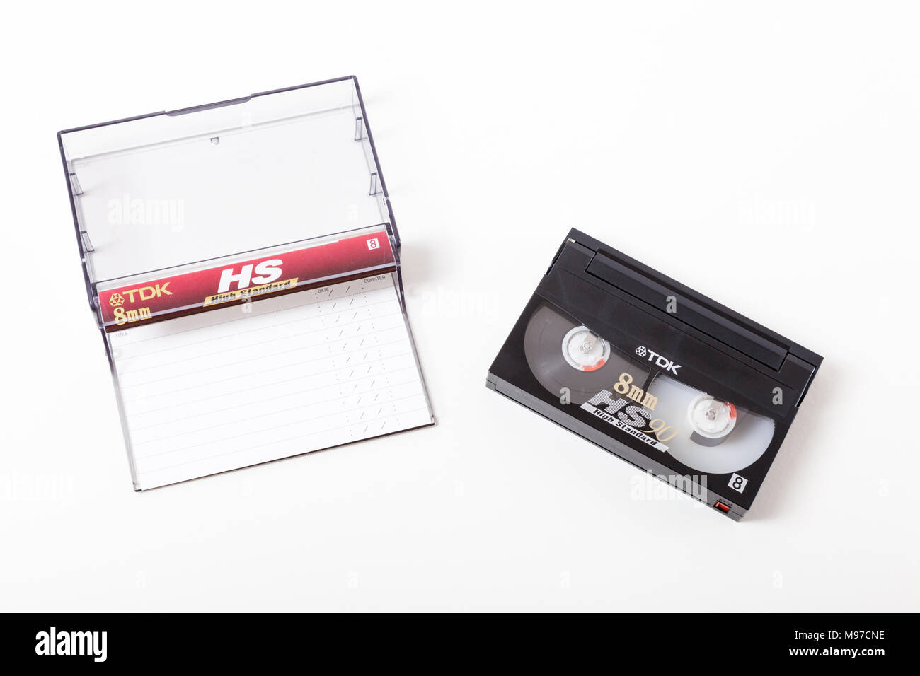 TDK HS90 8mm video camera recording cassette tape with box - Stock Image