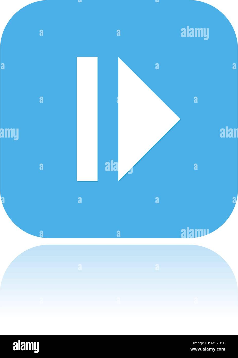PAUSE icon. Blue square icon with reflection - Stock Image